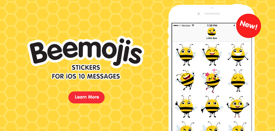 New! Beemojis for Messages in iOS 10!